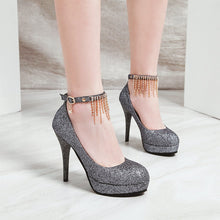 Load image into Gallery viewer, Sequined Wedding Shoes Super High-heeled Rhinestone Stiletto Heel Platform Pumps