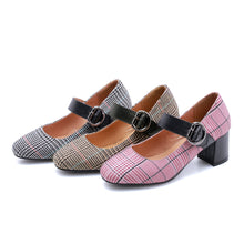 Load image into Gallery viewer, Plaid Mary Janes Chunky Heel Pumps