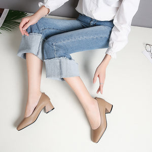 Square Toe Thick Heel Shallow Mouth Women Chunky Heels Pumps