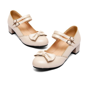 Sweet Bow Mary Janes Shallow Toe Women Chunky Heels Pumps