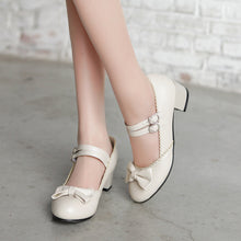 Load image into Gallery viewer, Sweet Bow Mary Janes Shallow Toe Women Chunky Heels Pumps