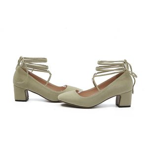 Strappy Shallow Mouth Women Chunky Middle Heels Shoes