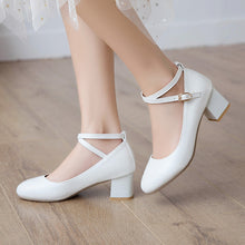 Load image into Gallery viewer, Strappy Women Chunky Heels Pumps Dress Shoes