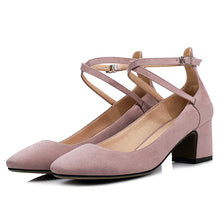 Load image into Gallery viewer, Rough Heel Shallow Toe Buckle Women Middle Pumps