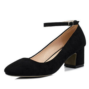 Suede Thick Heel Square Headbuckle Women Pumps