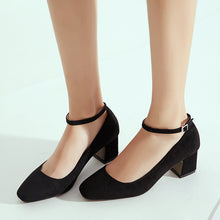 Load image into Gallery viewer, Suede Thick Heel Square Headbuckle Women Pumps