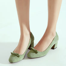 Load image into Gallery viewer, Knot Women Pumps Chunky Heels Shoes
