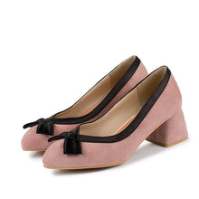 Load image into Gallery viewer, Rough Heel Round Head Shallow Bow Tie Women Pumps