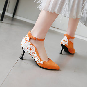 Lace High Heel Pointed Shallow Mouth Pumps