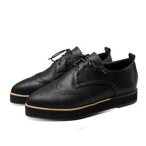 Women's Lace Up Platform Oxford Flat Shoes