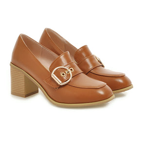 Square Chunky Heels Oxford Shoes