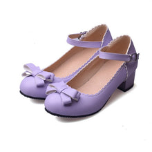 Load image into Gallery viewer, Sweet Butterfly Knot Thick Heel Pumps Princess Shoes
