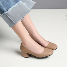 Load image into Gallery viewer, Square Toe Thick Heel Shallow Mouth Women Chunky Heels Pumps