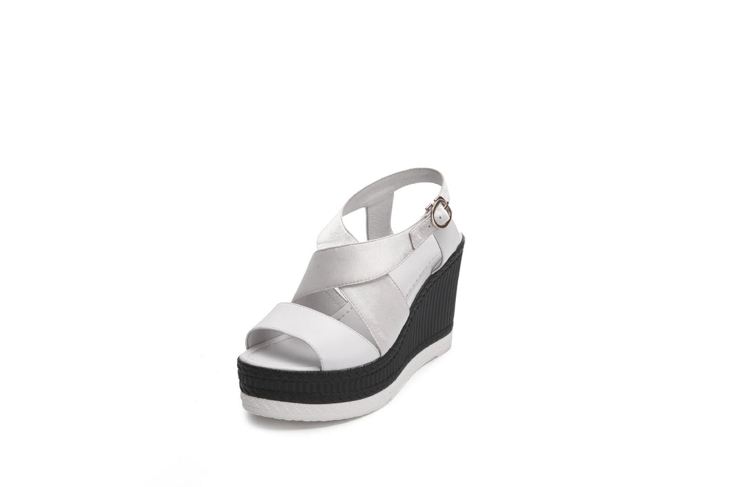 Women's Real Leather Buckle Wedge Sandals