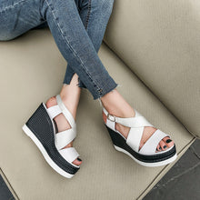 Load image into Gallery viewer, Women's Real Leather Buckle Wedge Sandals