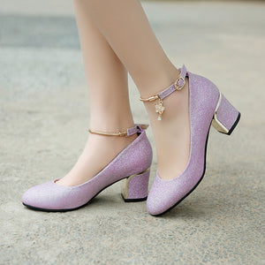 Ankle Strap High-heeled Shallow-mouth Pumps