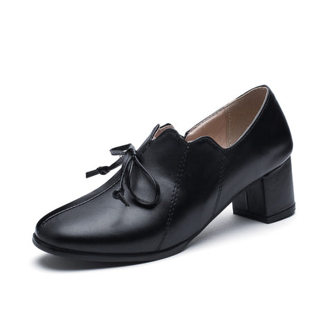Knot Middle Heeled Oxford Shoes