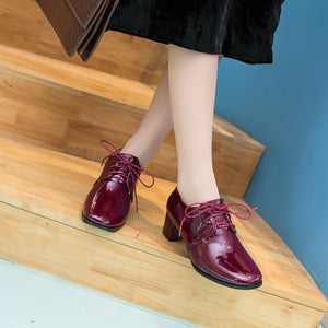Lace Up Patent Leather Oxford Shoes British Style Mid Rough Heels