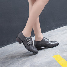 Load image into Gallery viewer, Round Head Double Buckle Women Mid Heeled Oxford Shoes