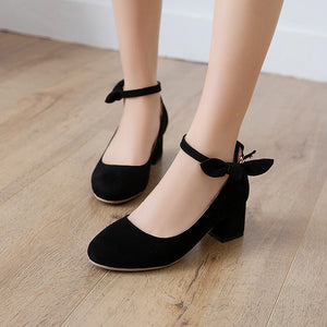 Shallow Toe Buckle Thick Heel Women Chunky Pumps
