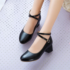 Strappy Women Chunky Heels Pumps Dress Shoes
