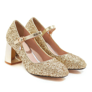 Wedding Shoes High-heel Sequins Mary Janes Pumps
