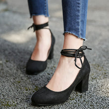 Load image into Gallery viewer, Strappy Chunky Heel Pumps