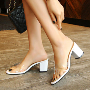 Women's Genuine Leather Mid Heels Chunky Sandals