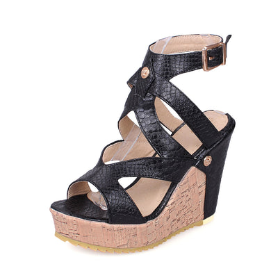 Women's High Heel Buckle Belt Hollow Wedges Sandals