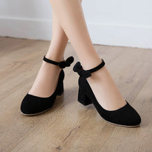 Load image into Gallery viewer, Shallow Toe Buckle Thick Heel Women Chunky Pumps