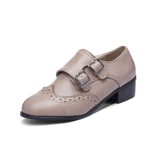 Round Head Double Buckle Women Mid Heeled Oxford Shoes