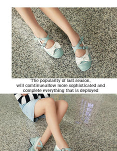 Sweet Bow Middle Heel Buckle Princess Women Chunky Pumps