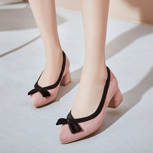 Rough Heel Round Head Shallow Bow Tie Women Pumps