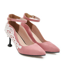 Load image into Gallery viewer, Lace High Heel Pointed Shallow Mouth Pumps