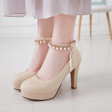 Load image into Gallery viewer, Rough Heel Rhinestone Super High Heel Fastener Platform Pumps