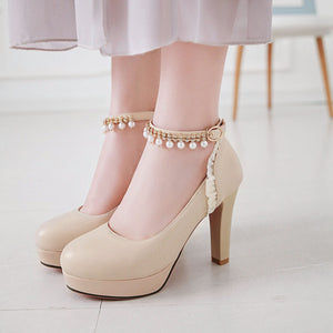 Rough Heel Rhinestone Super High Heel Fastener Platform Pumps