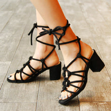 Load image into Gallery viewer, Women's Genuine Leather Mid Heel Lace-up Sandals