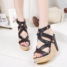 Load image into Gallery viewer, Women's High Heel Buckle Belt Hollow Wedges Sandals