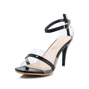 Women's High Heel Transparent Buckle Open Toe Stiletto Heel Sandals