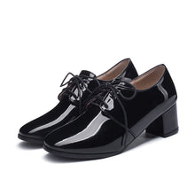 Load image into Gallery viewer, Lace Up Patent Leather Oxford Shoes British Style Mid Rough Heels