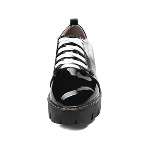 Patent Leather Middle-heel Tie-up Oxford Shoes
