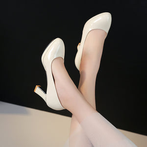 Faux Leather High Heel Pumps