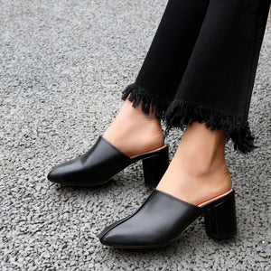 Women's Genuine Leather Mid Heel Toe Covered Slippers