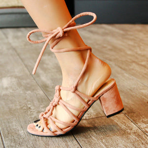 Women's Genuine Leather Mid Heel Lace-up Sandals