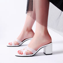 Load image into Gallery viewer, Women's Genuine Leather Mid Heels Chunky Sandals