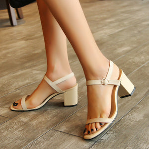 Women's Genuine Leather Strappy Heel Sandals