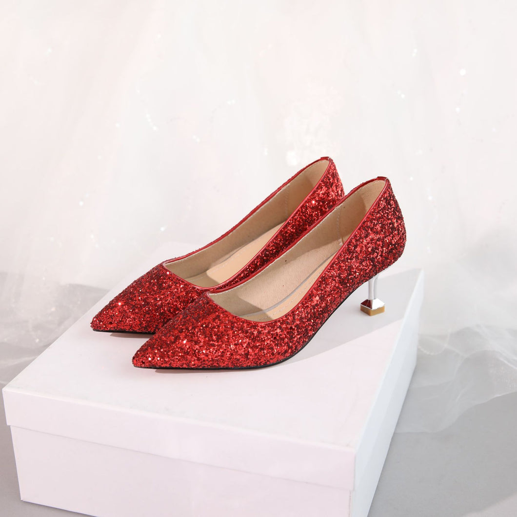 Sequins Wedding Shoes Shallow Kitten Heels Pumps