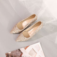 Load image into Gallery viewer, Sequins Wedding Shoes Shallow Kitten Heels Pumps