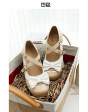 Load image into Gallery viewer, Sweet Bow Middle Heel Buckle Princess Women Chunky Pumps
