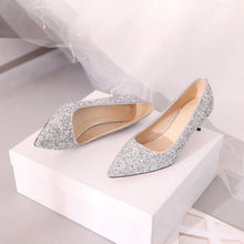 Load image into Gallery viewer, Pointed Toe Sequined Wedding Shoes Women Pumps Stiletto Middle Heels
